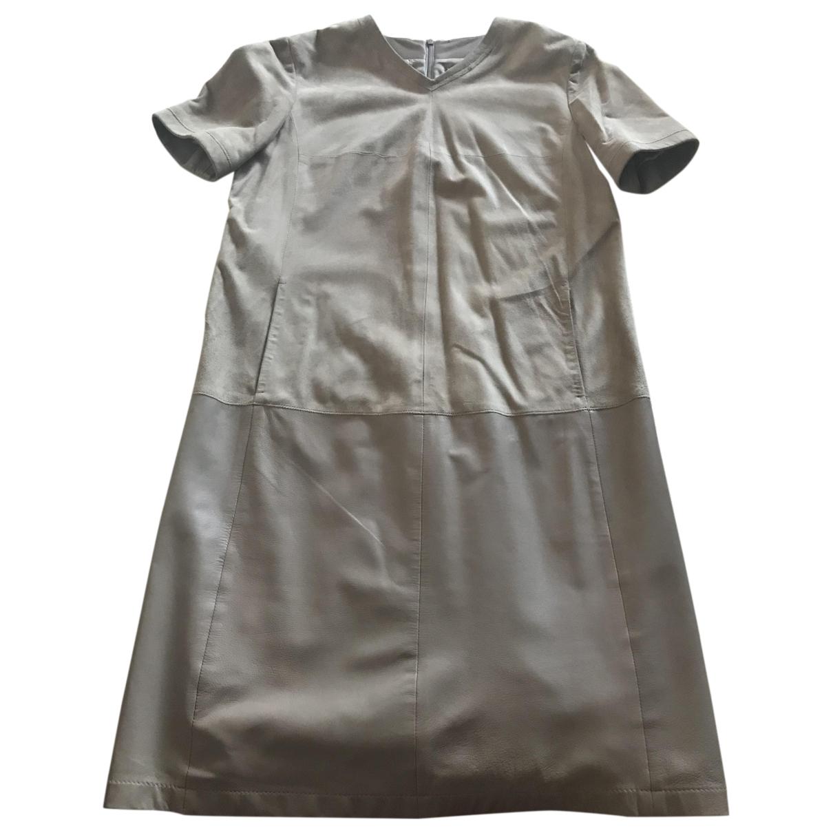 Max Mara 's \N Beige Leather dress for Women 44 IT