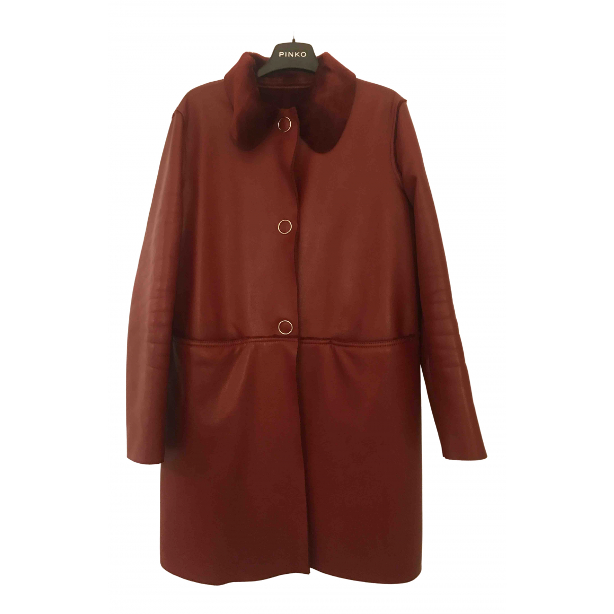 Pinko N Burgundy Leather Leather jacket for Women 44 IT