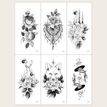 Schwarz Gebluemt  Tattoo-Aufkleber