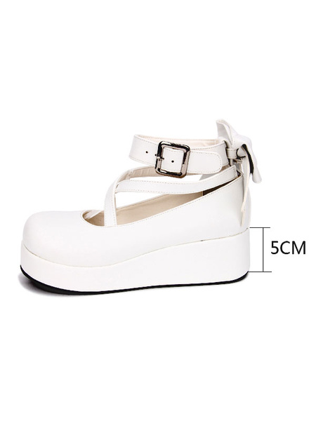Milanoo Sweet Lolita Footwear Bow Stappy Buckle Wedge Heel White Lolita Shoes