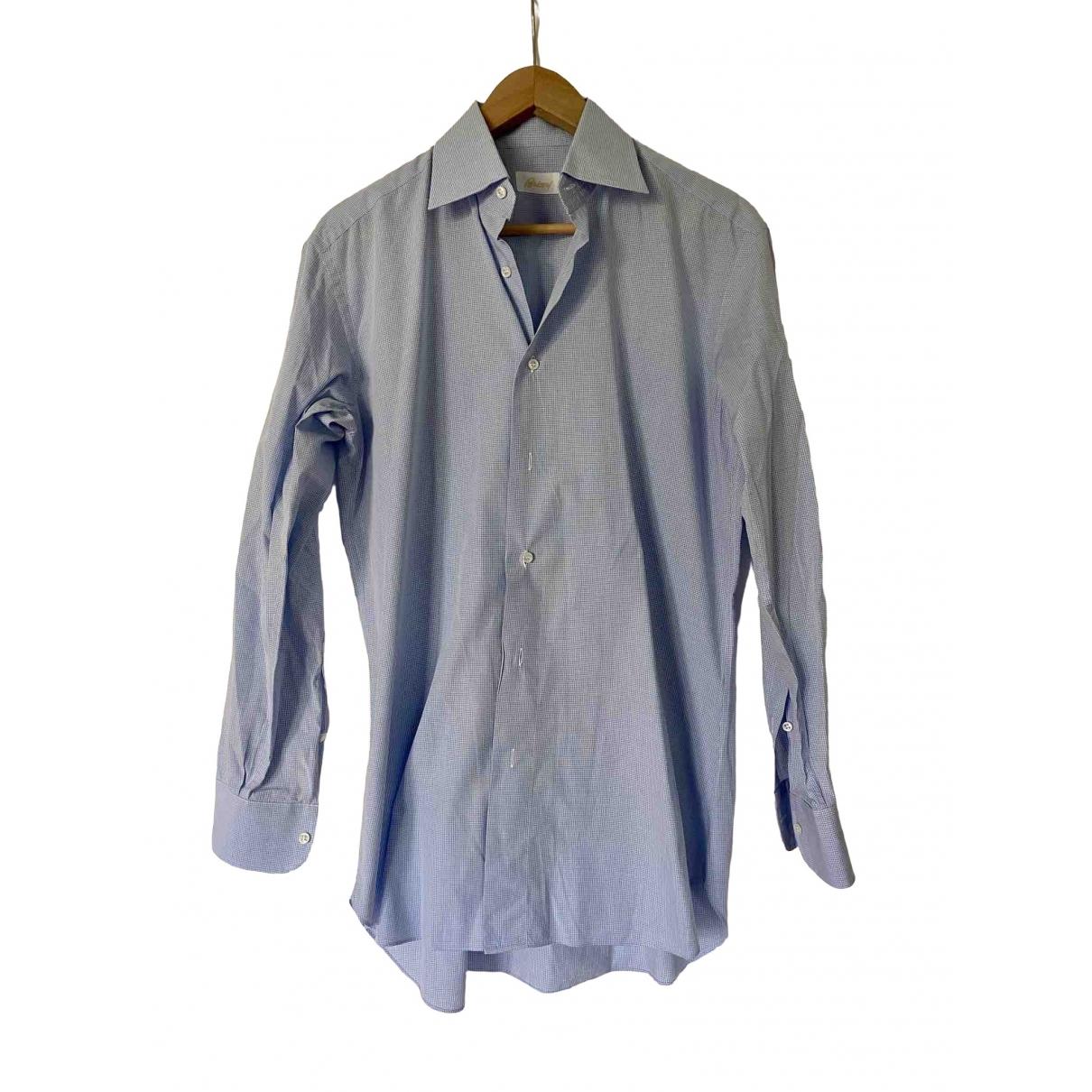 Brioni - Chemises   pour homme en coton - bleu