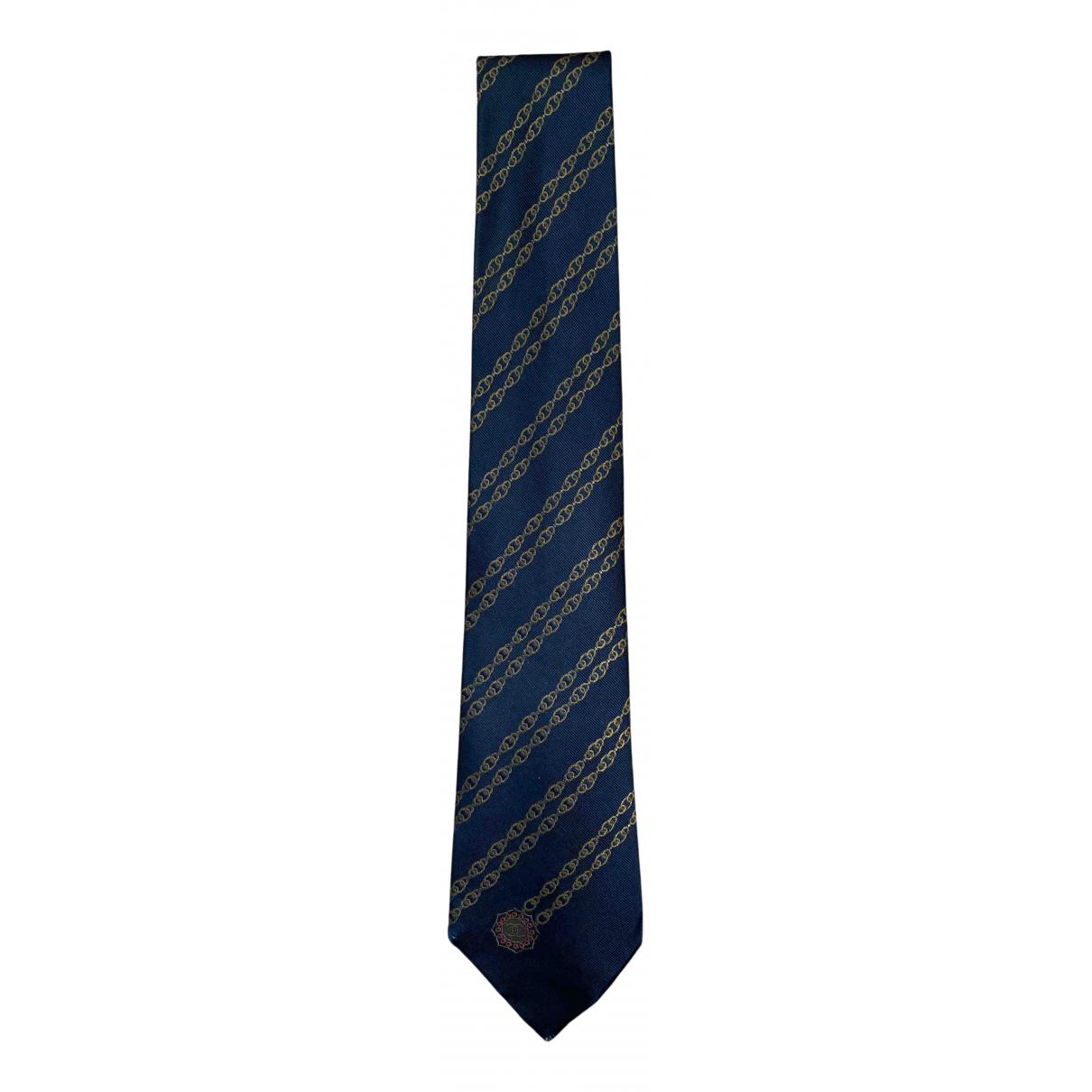 Chanel N Navy Silk Ties for Men N