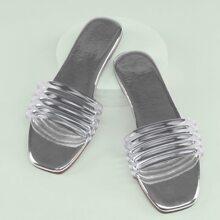 Square Toe PVC Multi Strap Band Flat Slide Sandals