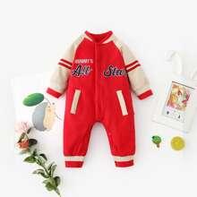 Baby Boy Letter Embroidery Varsity Striped Baseball Jumpsuit