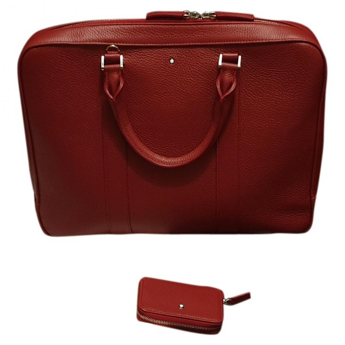 Montblanc - Sac de voyage   pour femme en cuir - rouge