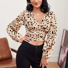 Allover Print Wrap Belted Satin Top