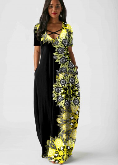 Rosewe Women Black Tribal Printed Maxi Short Sleeve Casual Dress With Pockets Cross Strap Vacation Tunic Dress - M