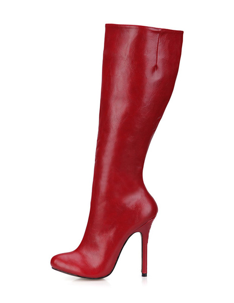 Milanoo Burgundy Knee High Boots Womens PU Round Toe Stiletto Heel Winter Boots