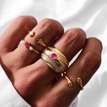 4 piezas anillo con estrella con perla artificial