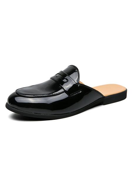 Milanoo Mens Sandals Slip-On PU Leather Rubber Sole PU White Men\'s Mules
