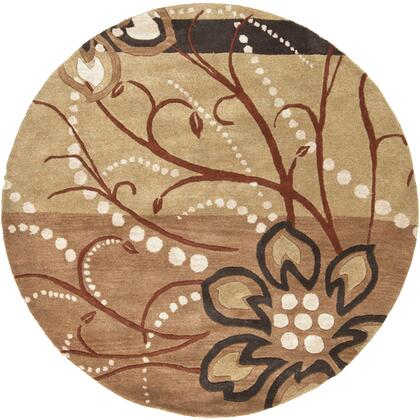 Athena Collection ATH5006-6RD Round 6' Area Rug  Hand Tufted with Wool Material in Brown and Neutral