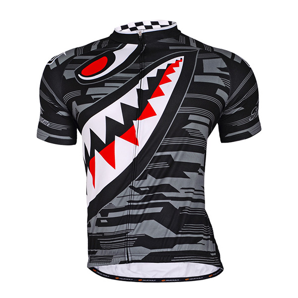 Male Cartoon Big Mouth Evil Breathable Bike Full Zipper Jersey Quick-Dry Cycling Jersey