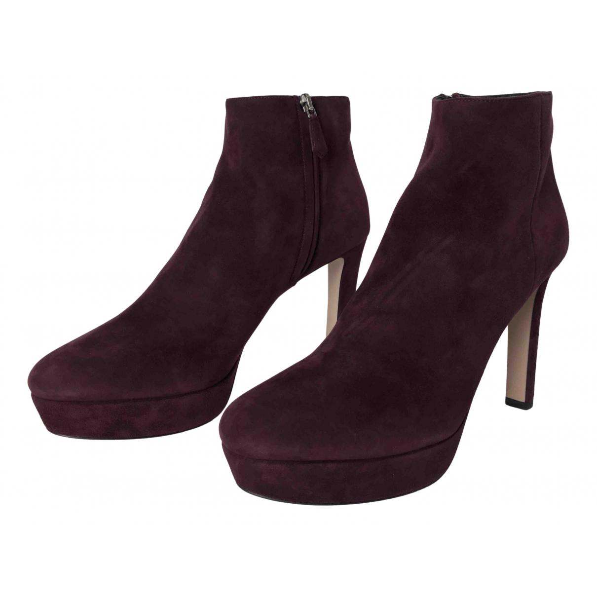 Prada - Boots   pour femme en suede - bordeaux