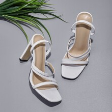 Snakeskin Thin Strap Chunky Heeled Sandals