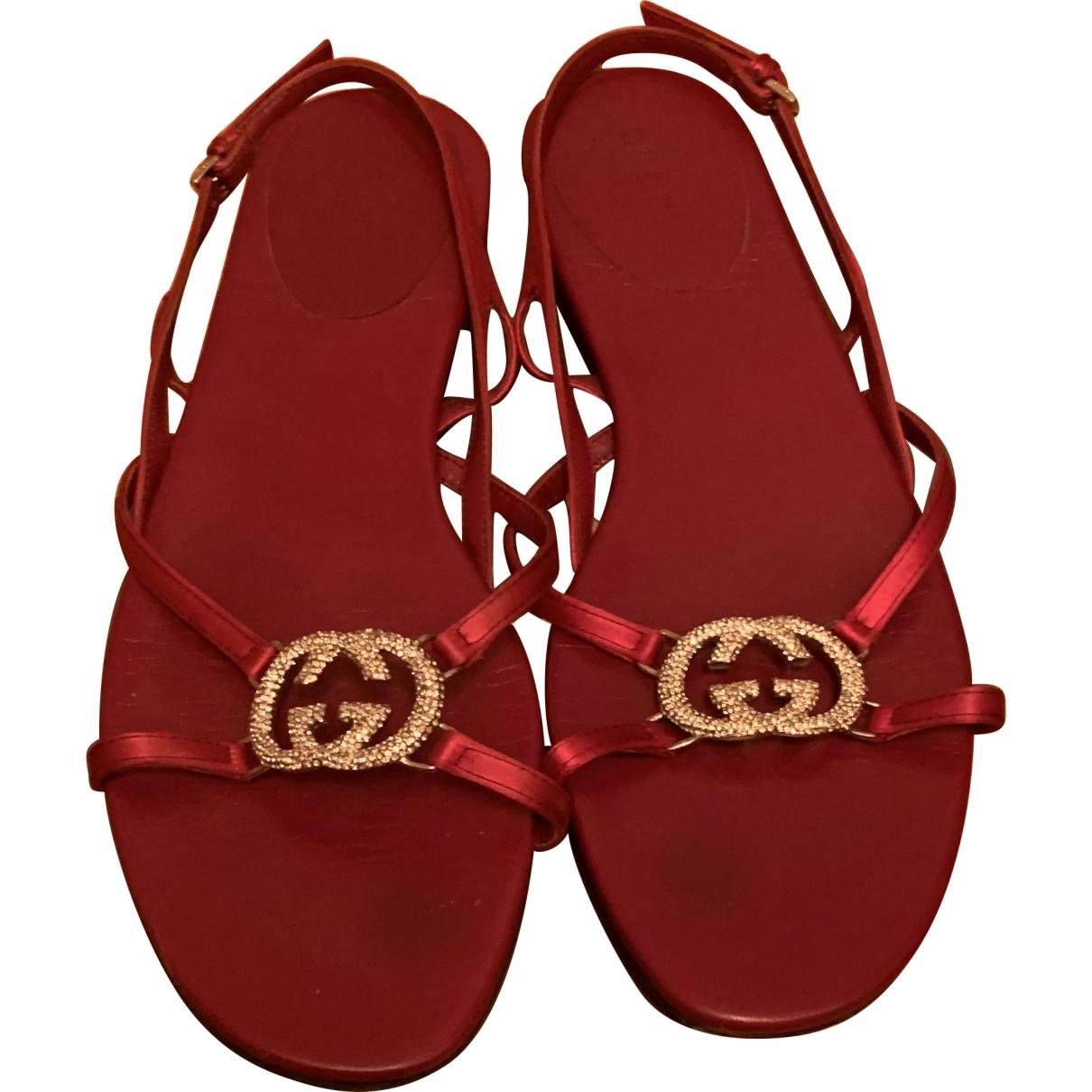 Gucci \N Burgundy Cloth Sandals for Women 37 EU