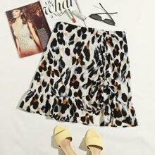 Plus Drawstring Front Ruffle Hem Asymmetrical Skirt