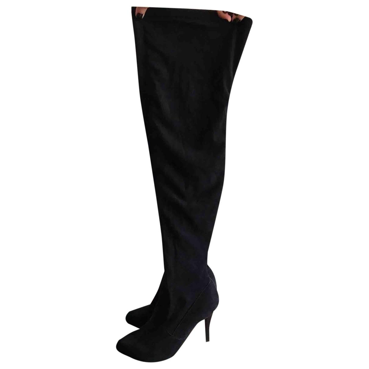 - Bottes   pour femme en suede - noir