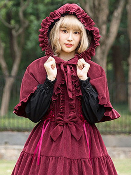 Milanoo Classic Lolita Poncho Neverland Danube Lovers Ruffle Hooded Corduroy Lolita Cape