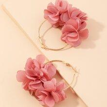 Pendientes de aro con flor