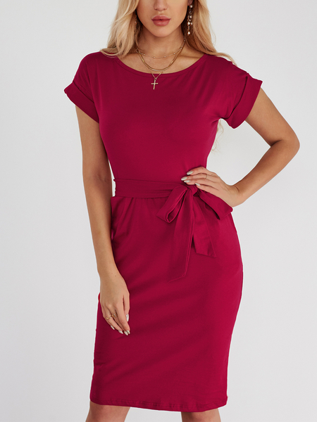 Yoins Red Lace Up Design Plain Round Neck Short Sleeves High-waisted Dress