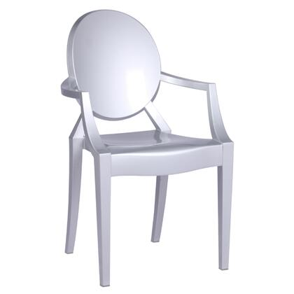 Clear Collection FMI1130-SILVER Stackable Arm Chair with Scratchproof  Waterproof  Round Shaped Backrest  Contemporary/Modern Style and Transparent