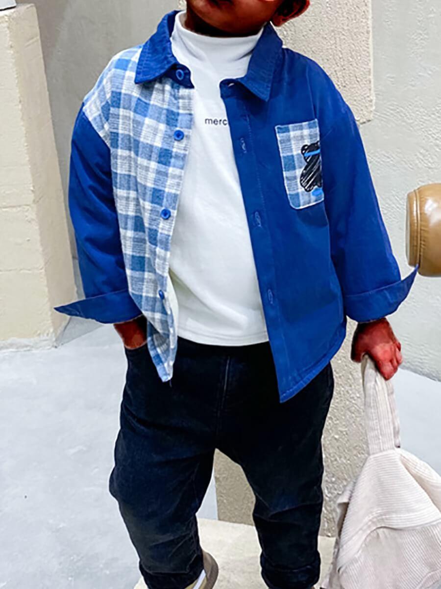LW Lovely Casual Plaid Print Patchwork Blue Boy Shirt