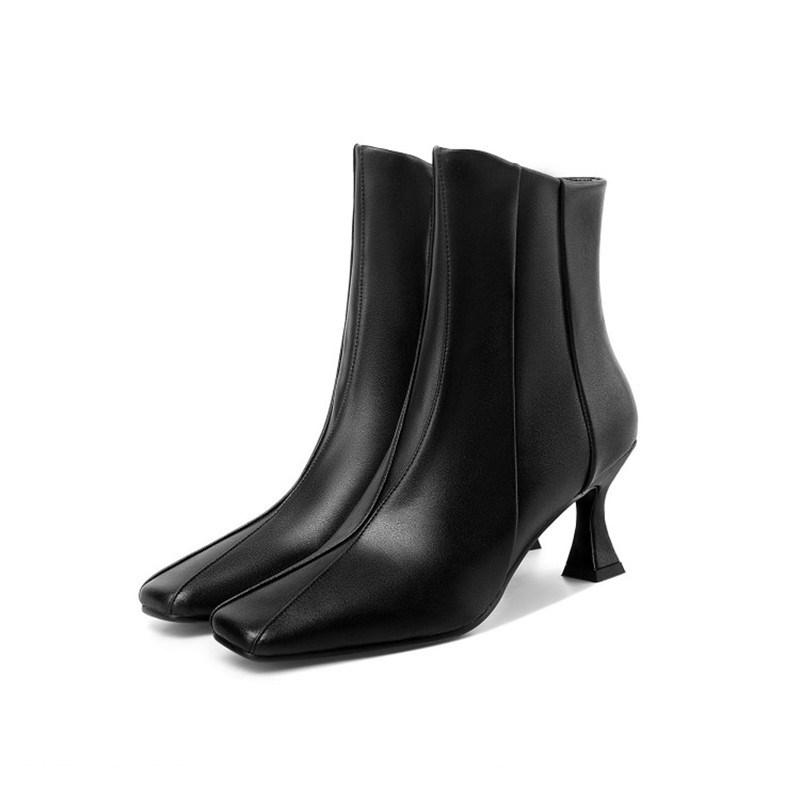 Ericdress Horse-Shoe Heel Square Toe Side Zipper Short Floss Boots