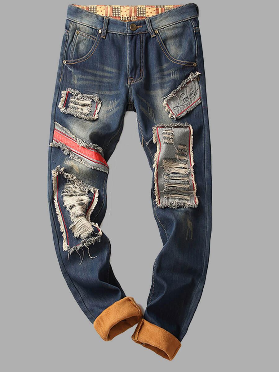 LW Lovely Street Broken Holes Blue Men Jacket