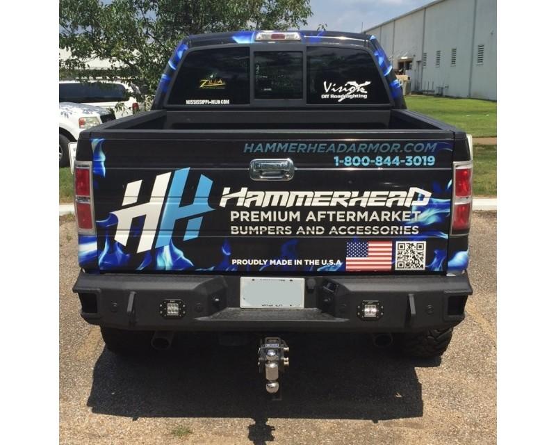 Hammerhead Armor 600-56-0477 F-150 Raptor Rear Bumper With Sensors Flush Mount Eco-Boost For 06-14 F-150 Raptor Black Steel