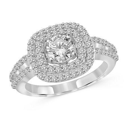 Womens 3 CT. T.W. White Cubic Zirconia Sterling Silver Engagement Ring, 7 , No Color Family