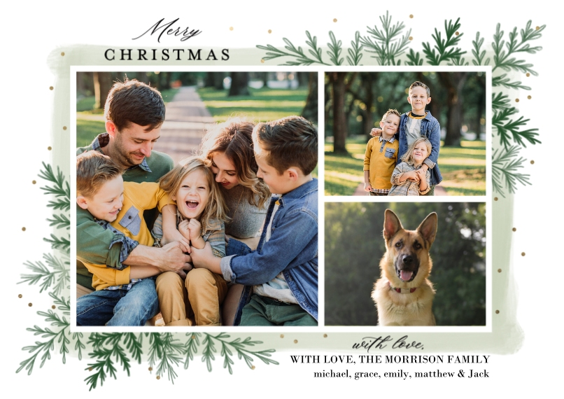 Christmas Photo Cards 5x7 Cards, Premium Cardstock 120lb with Scalloped Corners, Card & Stationery -Christmas Greenery by Tumbalina