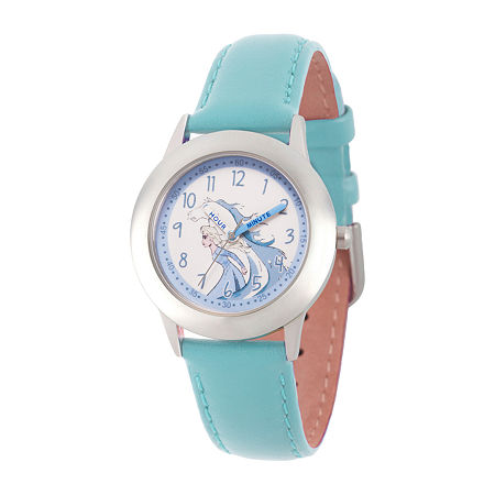 Disney Girls Blue Leather Strap Watch-Wds000809, One Size , No Color Family