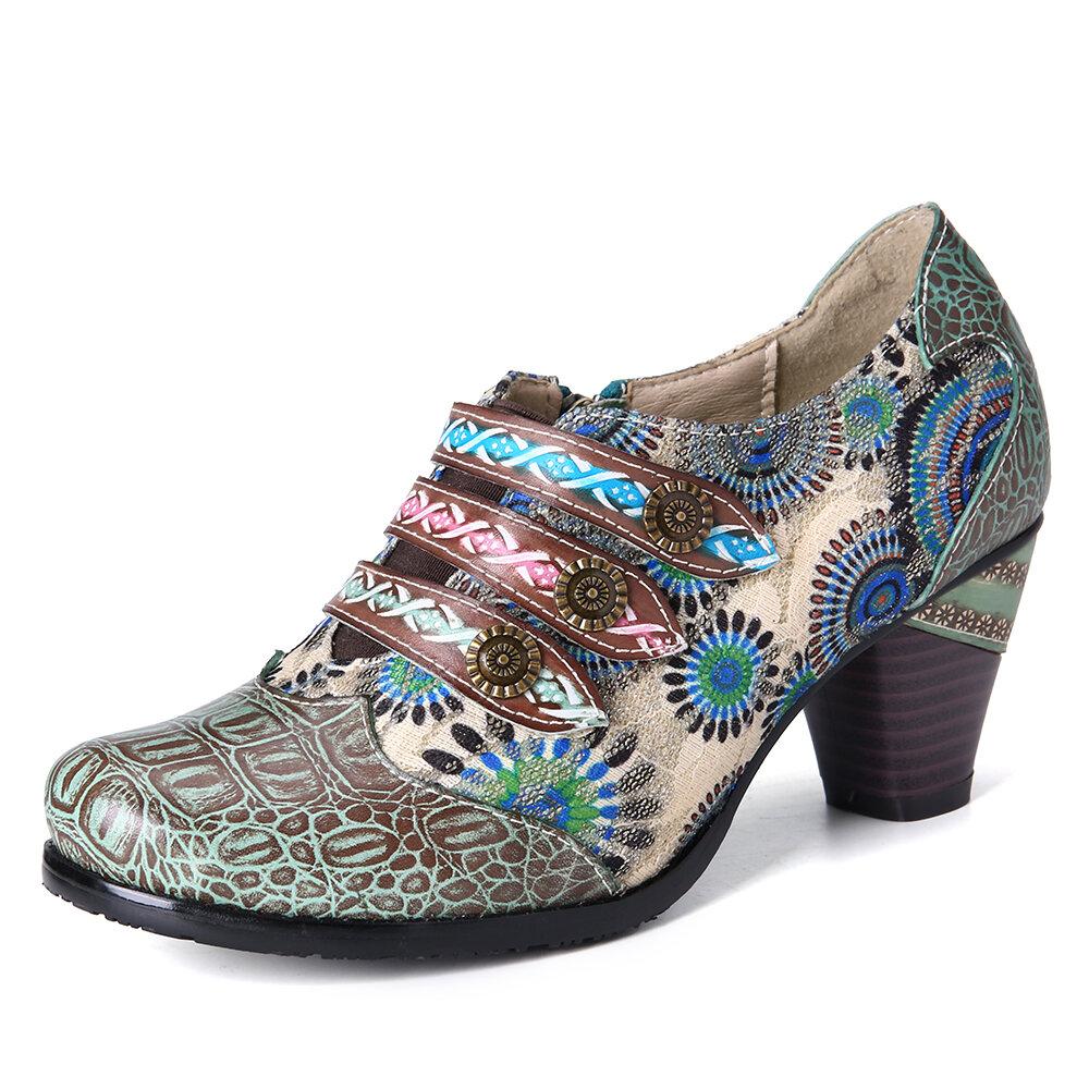 SOCOFY Retro Stitching Flower Genuine Leather Block Heel Zipper Slip On Pumps