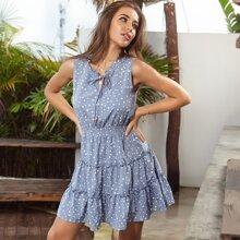 Tie Neck Polka Dot Shirred Waist A-line Dress