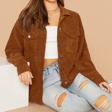 Flap Pocket Front Cord Coat