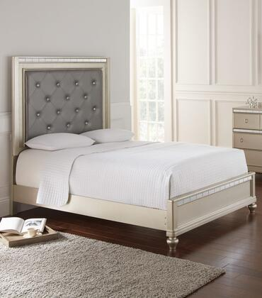 Christopher Collection CR449-F Full Size Bed with Faux Leather Upholstered Headboard  Low Profile Footboard  Tulip Feet  Pinewood and Tropical Wood