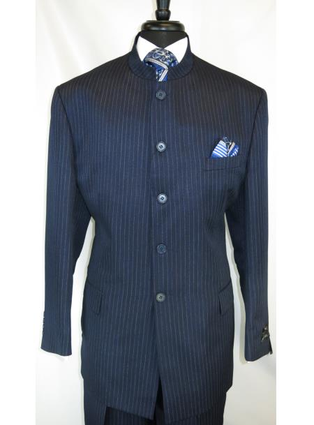 Men's Mandarin Banded Collar Navy Pinstripe Pattern 5 Button Suit