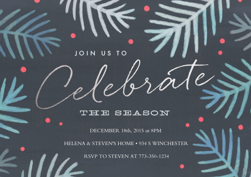 Christmas & Holiday Party Invitations 5x7 Cards, Premium Cardstock 120lb, Card & Stationery -Celebrate the Season