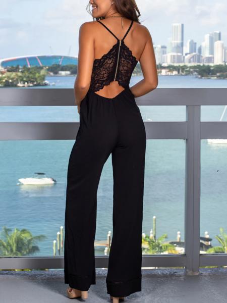 YOINS Black Lace Backless Design Deep V-neck Spaghetti Strap Jumpsuit