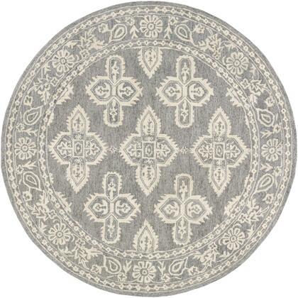 Granada GND-2302 6' Round Global Rug in Medium Gray