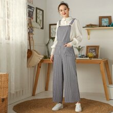 Gingham Dual Pockets Wide Leg Overall