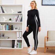 Maternity Striped Side Form Fitted Jumpsuit