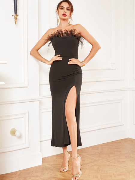 YOINS Black Patch Split Design Strapless Dress