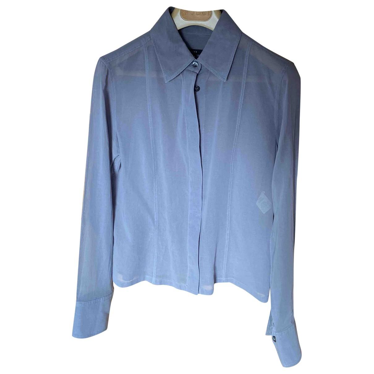 Gucci - Top   pour femme en coton - bleu