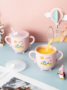 1pc Rabbit Print Straw Cup With Handle
