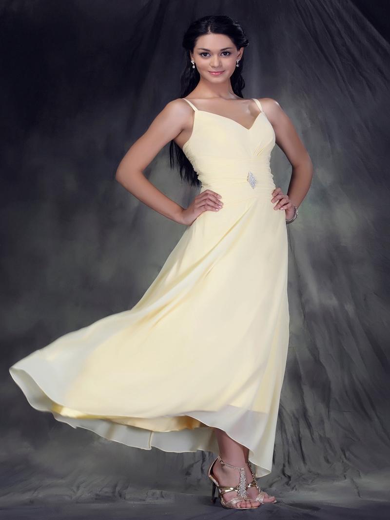 A-Line/Princess V-Neck Tea-length Anderae's Bridesmaid Dress