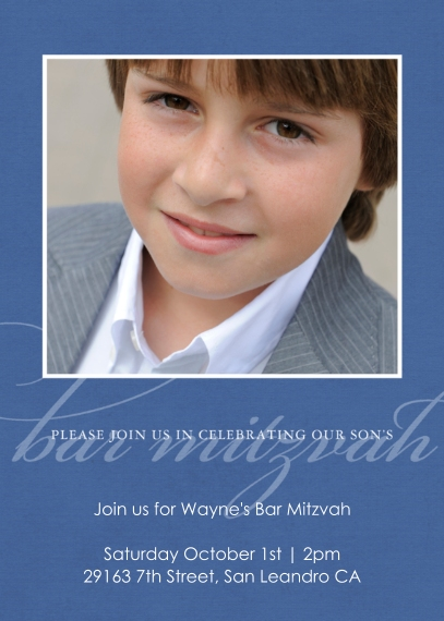 Bar & Bat Mitzvah 5x7 Cards, Premium Cardstock 120lb, Card & Stationery -Simply Sleek Bar Mitzvah