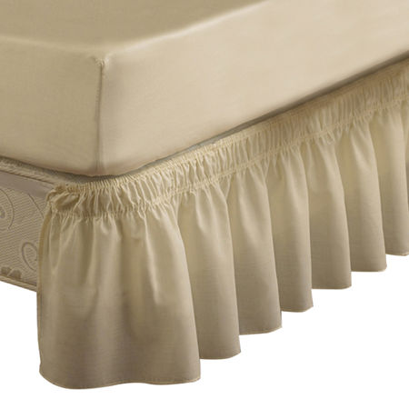 EasyFit Wrap-Around Solid Ruffled Bedskirt, One Size , White
