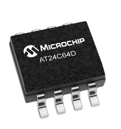 Microchip AT24C64D-SSHM-T, 64kbit EEPROM Memory Chip, 550ns 8-Pin SOIC-8 (4000)