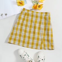 Split Hem Tartan Skirt